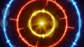 Digital audio wave concentric circles. Abstract modern technology background. Computer graphics stock illustration