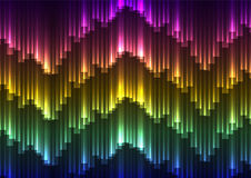 Digital aurora abstract background. Rainbow bar template, zigzag dark colorful background, vector illustration stock illustration