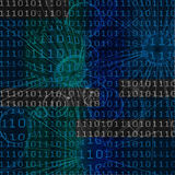 Digital background. Illustration of the binary code over abstract figures Royalty Free Stock Photography