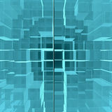 Digital background of blue glowing cubes Stock Photography