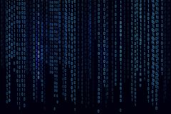 Digital background blue matrix. Background in a matrix style. Binary computer code. Running random numbers. Vector illustration stock illustration