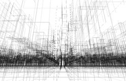 Digital background with 3d wire frame cityscape Stock Image