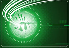 Digital background with hand. Digital green background with handprint and energy wave Royalty Free Stock Photos