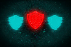 Digital background with red Shield at center. Concept of hacker attack and protect personal data on computer systems Royalty Free Stock Images