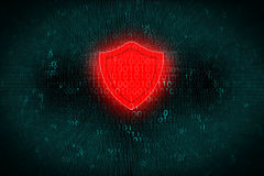 Digital background with red Shield at center. Concept of hacker attack and protect personal data on computer systems Stock Photography