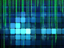 Digital background. In shades of green with a series of squares and vertical dotted lines of varied length Stock Images