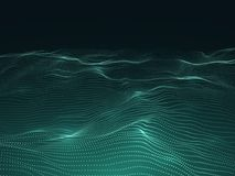 Digital background with wavy surface. 3d futuristic landscape with particles. Sound waves data vector concept. Futuristic flow surface layer illustration Stock Photography