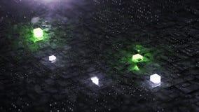 Digital bakgrund med den neonströmkretsen och kuben lager videofilmer