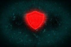 Digital bakgrund med den röda skölden på mitten Begreppet av en hackerattack och skyddar personliga data på ADB-system Arkivbild
