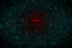 Digital bakgrund med textviruset på mitten Begrepp av en hackerattack till personliga data vid viruset Royaltyfri Foto