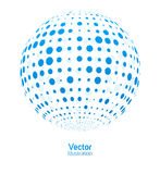 Digital ball. Ball blue consisting of points on a white background Stock Photo