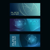 Digital banner collection. Three abstract banners collection. Modern vector digital background. Abstract geometric design. Flyer, brochure, poster template with Royalty Free Stock Photography