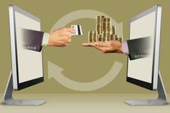 Digital begrepp, två händer från skärmar hand med kreditkorten och mynt illustration 3d Arkivbilder
