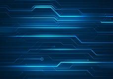 Digital begreppsillustration med strömkretsmikrochipens på blått tillbaka Royaltyfri Bild