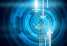 Digital begreppsmässig bild av prickiga pilar på blå bakgrund Arkivbild