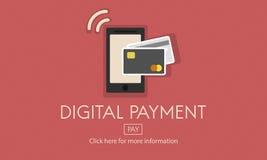 Digital betalningE-kommers som shoppar online-begrepp Fotografering för Bildbyråer