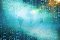 Digital binary Code Background. 3d Illustration Stock Photos