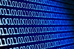 Digital binary code on blue background. 3d illustration.  Royalty Free Stock Photography
