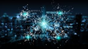 Digital binary code connection network background 3D rendering. Digital binary code connection network on blue city background 3D rendering Stock Photo