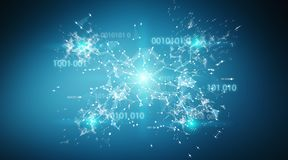Digital binary code connection network background 3D rendering. Digital binary code connection network on blue background 3D rendering Royalty Free Stock Photo