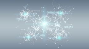 Digital binary code connection network background 3D rendering. Digital binary code connection network on grey background 3D rendering Royalty Free Stock Photography