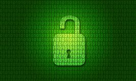 Digital binary code with open lock stock illustration