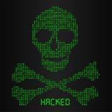 Digital binary code in skull and bone danger icon Stock Photos