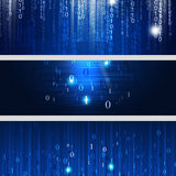 Digital Binary Codes Banners Stock Photos