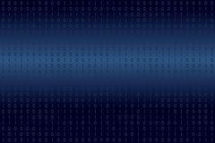 Digital binary data on blue background. Modern, science, technology, virus computer, hacking, network in cyberspace concepts. royalty free illustration
