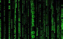 Computer code falling matrix style.