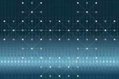Digital binary data with white dots and lines network on blue and white gradient background. Vector illustration, EPS 10. Modern, science, technology, virus Royalty Free Stock Photos