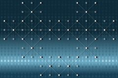 Digital binary data with white dots and lines network on blue and white gradient background. Vector illustration, EPS 10. Modern, science, technology, virus Stock Photography