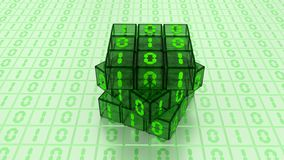 Digital Binary Magic Cube Box in Green Glass White Background Stock Photos