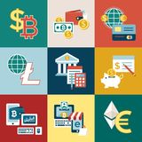Digital  bitcoin electronic cryptocurrency. Digital  bitcoin cryptocurrency and electronic money payments transfer icons set. Litecoin, ethereum, mining pools Royalty Free Stock Photography