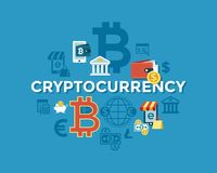 Digital  bitcoin electronic cryptocurrency. Digital  bitcoin cryptocurrency and electronic money payments transfer icons set. Litecoin, ethereum, mining pools Royalty Free Stock Photo
