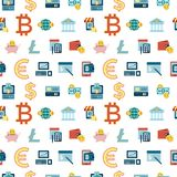 Digital  bitcoin electronic cryptocurrency. Digital  bitcoin cryptocurrency and electronic money payments transfer icons set. Seamless pattern. Litecoin Royalty Free Stock Photography