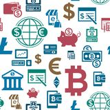 Digital  bitcoin electronic cryptocurrency. Digital  bitcoin cryptocurrency and electronic money payments transfer icons set. Seamless pattern. Litecoin Royalty Free Stock Image