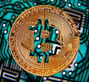 Digital bitcoin cryptocurrency. Photo of a gold bitcoin cryptocurrency against a printed circuit board background Stock Photo