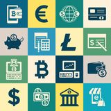 Digital  bitcoin electronic cryptocurrency. Digital  bitcoin cryptocurrency and electronic money payments transfer icons set. Litecoin, ethereum, mining pools Royalty Free Stock Image