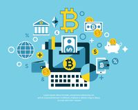 Digital  bitcoin electronic cryptocurrency. Digital  bitcoin cryptocurrency and electronic money payments transfer icons set. Litecoin, ethereum, mining pools Royalty Free Stock Photos