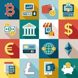 Digital  bitcoin electronic cryptocurrency. Digital  bitcoin cryptocurrency and electronic money payments transfer icons set. Litecoin, ethereum, mining pools Stock Photography