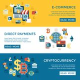 Digital  bitcoin electronic cryptocurrency. Digital  bitcoin cryptocurrency and electronic money payments transfer icons set. Litecoin, ethereum, mining pools Stock Photo