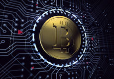 Digital Bitcoin. Golden coin with Bitcoin symbol in electronic cyberspace. 3D rendered image Royalty Free Stock Photo