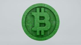 Digital bitcoin som består av ett bräde för utskrivaven strömkrets 3d, framför Arkivbilder