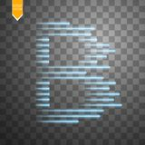 Digital bitcoins symbol with light effect and speed glow lines on transparent backgraund. Vector Royalty Free Stock Image