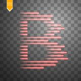 Digital bitcoins symbol with light effect and speed glow lines on transparent backgraund. Vector Stock Photos