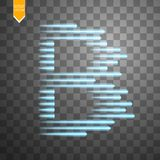 Digital bitcoins symbol with light effect and speed glow lines on transparent backgraund. Vector Stock Photo