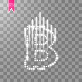 Digital bitcoins symbol with light effect and speed glow lines on transparent backgraund. Vector Stock Image