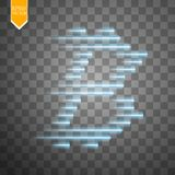 Digital bitcoins symbol with light effect and speed glow lines on transparent backgraund. Vector Royalty Free Stock Photography