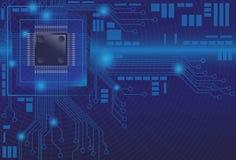 Digital blå bakgrundsillustration för mikrochips Fotografering för Bildbyråer